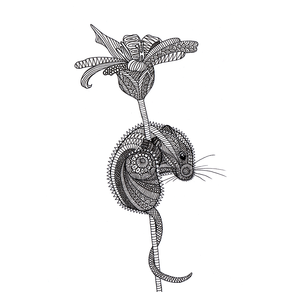 Drawing of an ornated mouse