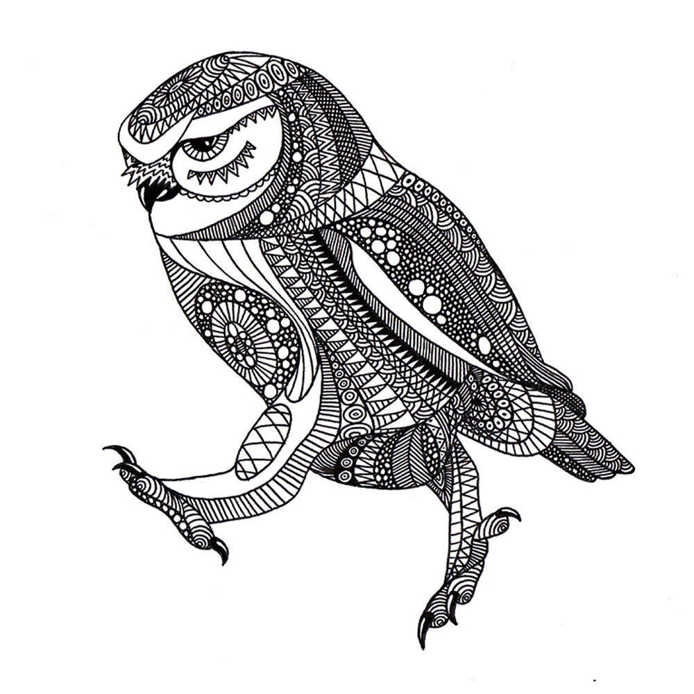 Drawing of an ornated walking owl