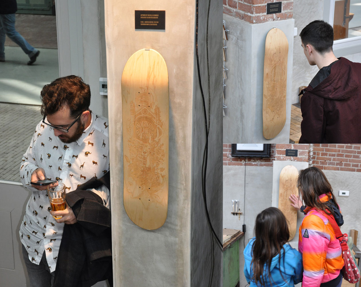 The skateboard displayed at Uncover Lab