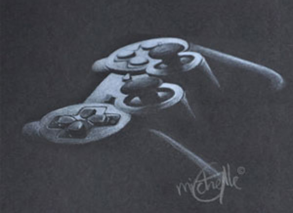 Gamer, drawing of a game controller