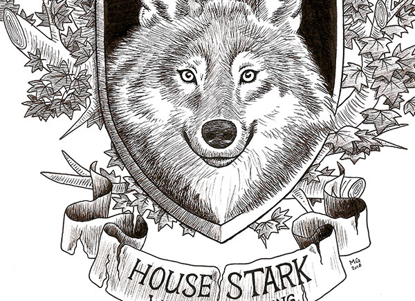 Series of Game of Thrones fan art with drawings of every family house